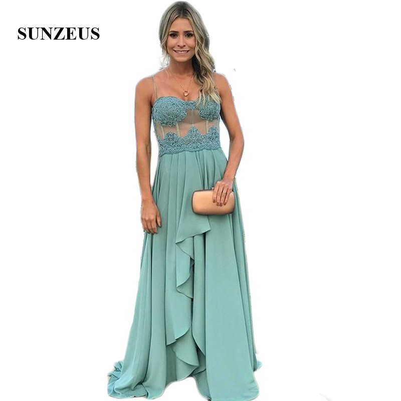 Spaghetti Straps A-Line   Bridesmaid     Dresses   Chiffon Sheer Waist Tulle Appliques Ruffles Maid of Honor   Dresses   vestido gasa SBD177