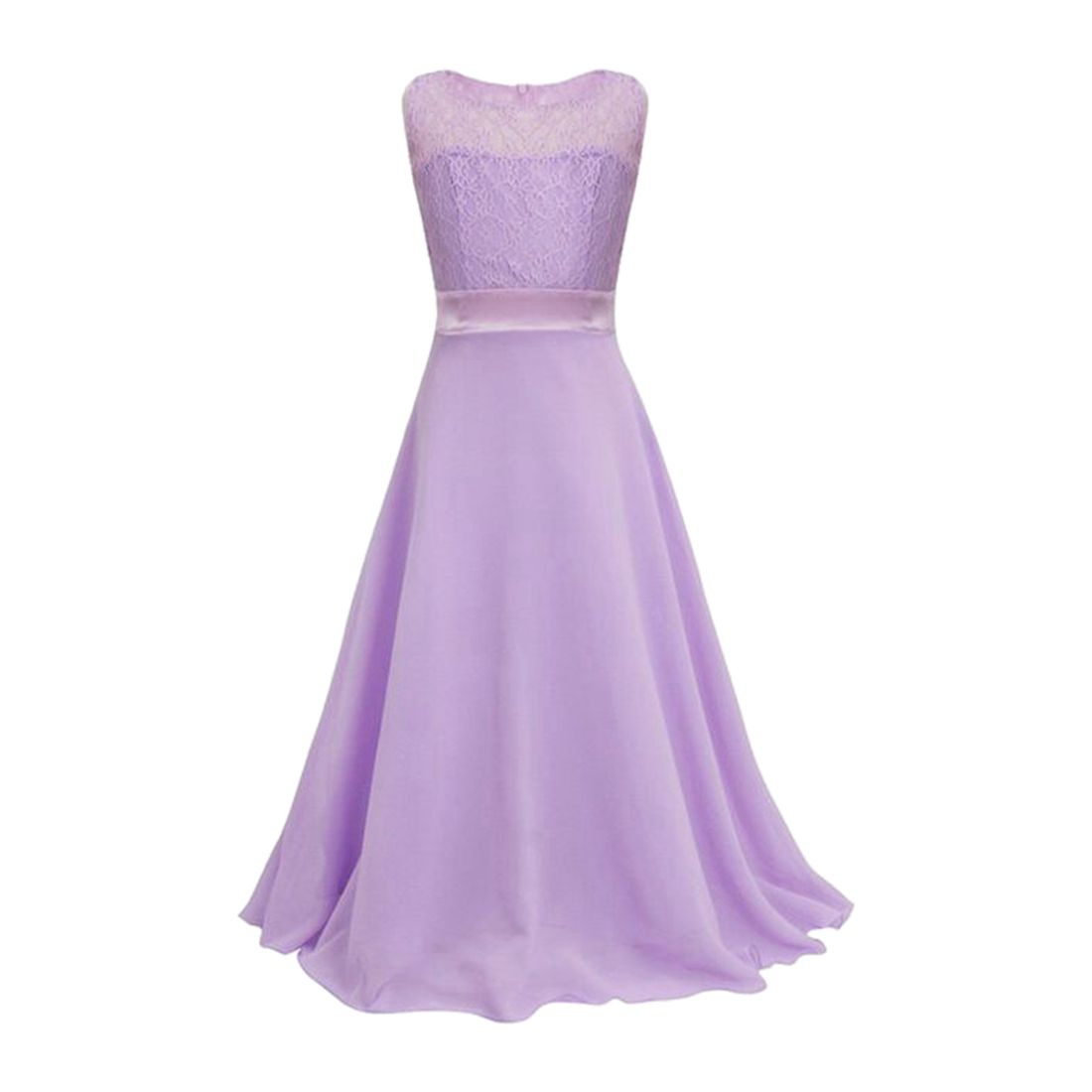 MACH Girls Lace Flower Chiffon Long Dress Kids Beautiful Wedding Party Dress Girl Formal Party Princess Long Dress(Light Purple) girls short in front long in back purple flower girl dress summer 2017 girl formal dress kids party princess custume skd014283