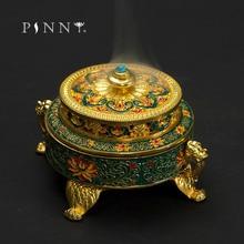 PINNY Colored Enamel Lotus Incense Burner 4-Foot Metal Painted Base Tea Ceremony Accessories Sandalwood Coil Censer