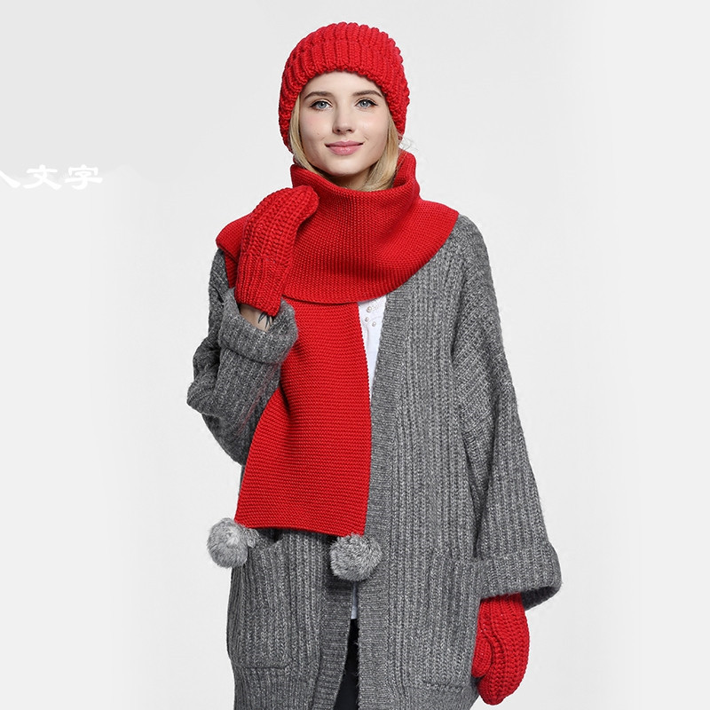 XIANXIANQING Rabbit Fur Scarf+Cap+Glove Set Winter Women Solid Scarve Set Lady Warm Scarves Set Sweet Fashion Style Hats FVOLL2