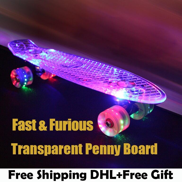 Green Transparent Peny font b Board b font Skateboard Complete Retro Cruiser Mini Longboard Skate Fish