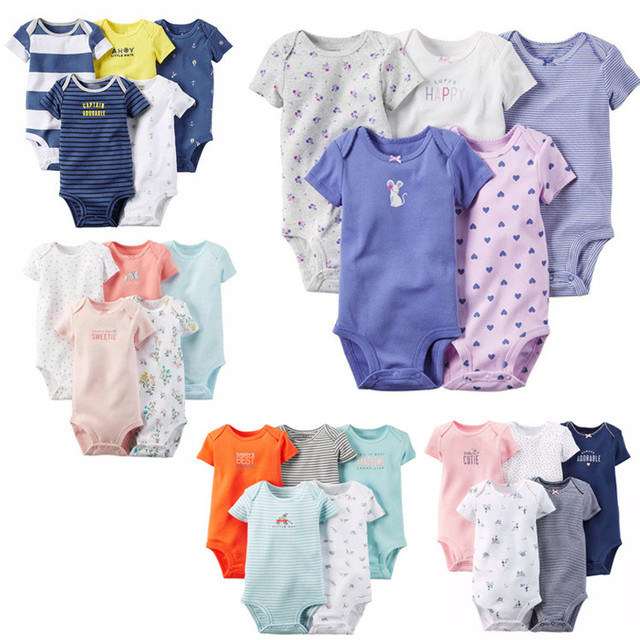 Short Sleeved Baby Bodysuits 5 Pieces/lot Baby Boys Girls Cotton Clothes Suit Triangle Jumpsuit Clothes 2016 Summer V49