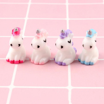 4 Pcs/set Cartoon Mini Resin Unicorn Miniature Cute Fairy Micro Landscape Unicorn Decor Figurine Home Garden Decors 1