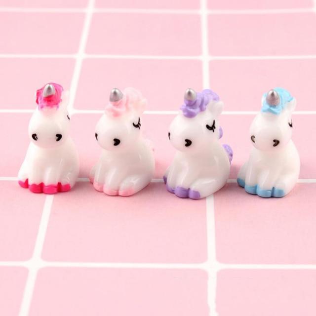 4 Pcs/set Cartoon Mini Resin Unicorn Miniature Cute Fairy Micro Landscape Unicorn Decor Figurine Home Garden Decors 1