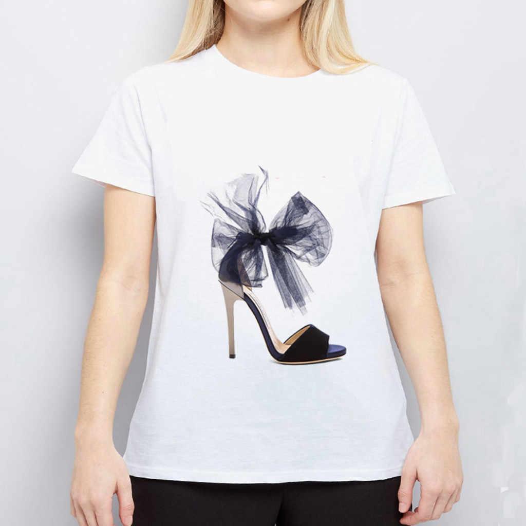 Vrouwen Persoonlijkheid Hoge Hak Cartoon Print Ronde Hals Korte Mouwen Wit T-shirt