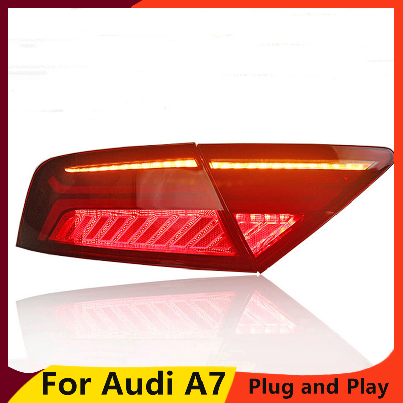 KOWELL Car Styling for Audi A7 Tail Lights 2011-2017 LED Tail Light Rear Lamp moving turn signal light Taillight Accessories