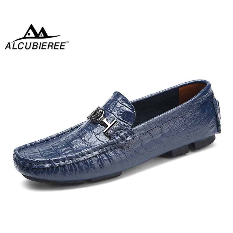 ALCUBIEREE Brand Big Plus Size 38-50 Mens Crocodile Style Loafers Genuine Leather Flats Moccasins Fashion Slip On Driving Shoes free shipping brand a2 style leather clothing plus size man s 100% genuine leather jackets classics mens engraved jacket quality