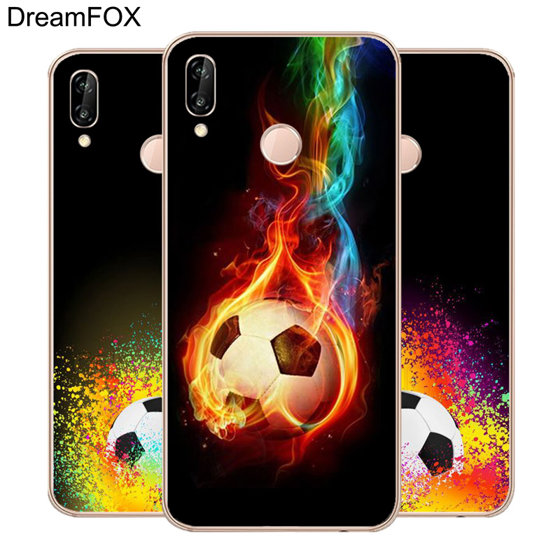DREAMFOX L165 Fire Football Soccer Ball Soft TPU Silicone Case Cover For Huawei Honor 6A 6C 7X 9 10 P20 Lite Pro P Smart