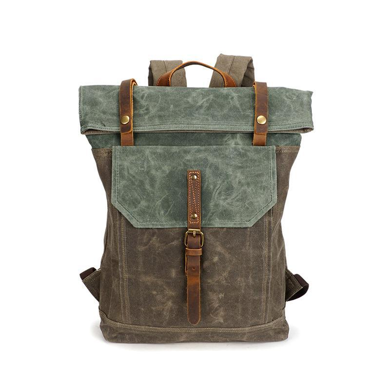 bac0b52b9a9c Mens Canvas Backpack Rucksack Vintage Waterproof Travel Bag Leather Casual  School Shoulder Bags Mochila Military Backpack Male