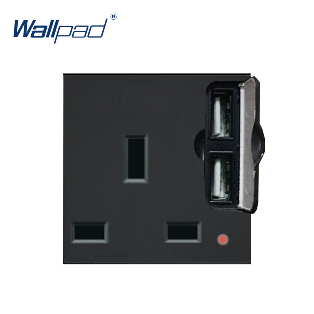 Wallpad Luxury <font><b>2</b></font> <font><b>USB</b></font> <font><b>3</b></font> Pin UK Socket Outlet Function Key For Wall White And Black Plastic Module Only image