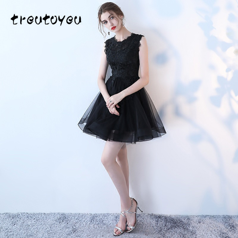 806d9ffe97 Aliexpress.com : Buy Treutoyeu Black Lace Dress with Crystal Evening ...