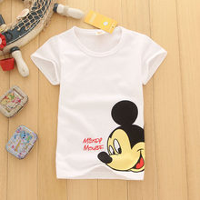 Mickey Minnie Donald Duck Print Summer Kids Baby Boys Girls T-shirt Children Toddler Cartoon Mouse Cotton Boy Clothing Tops Tees(China)