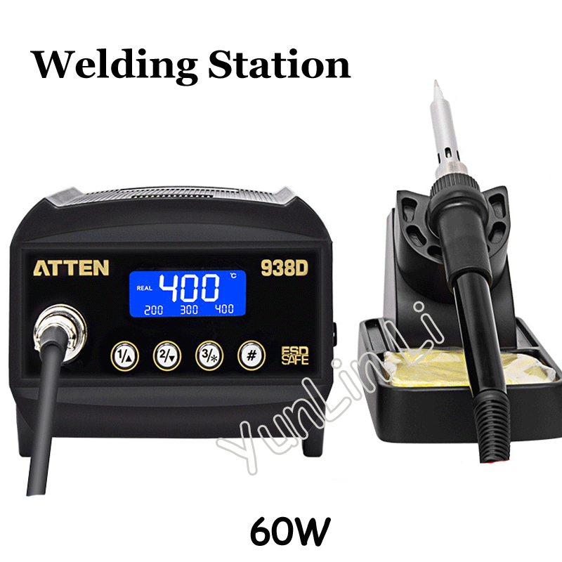60W Welding Station Digital Anti-Static Soldering Station Thermo-Control Electric Soldering Irons with LCD Display AT938D 80w welding table at938d at980d anti static thermostatic temperature control advanced welding table 60w