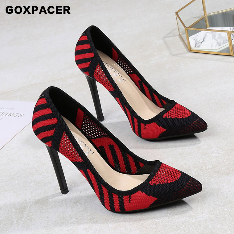 GOXPACER 2019 Sexy Women shoes Fashion High heel Flyknit All match Shallow Model Stitching color Summer sandals Free Shipping