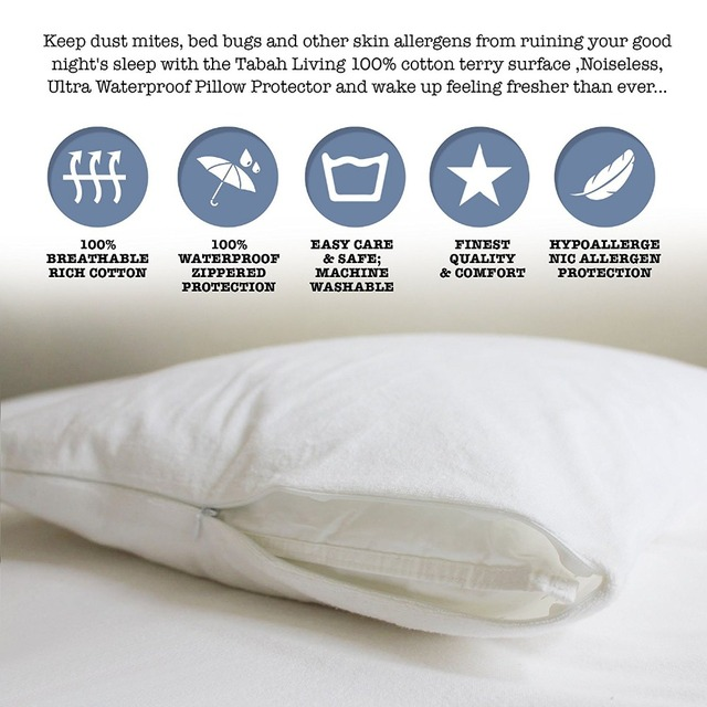 Standard Size 21 27 100 Waterproof Terry Cloth Pillow Protector Zippered Style