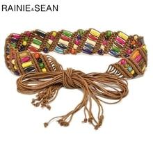 RAINIE SEAN Womens Braided Belt Ethnic Colourful Wooden Bead Belts For Women Handmade Casual Wide Ladies Waist Dress