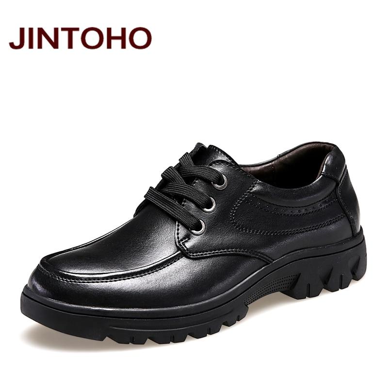 JINTOHO big size 37 50 mens genuine leather shoes dress italian leather male shoes elevator glitter