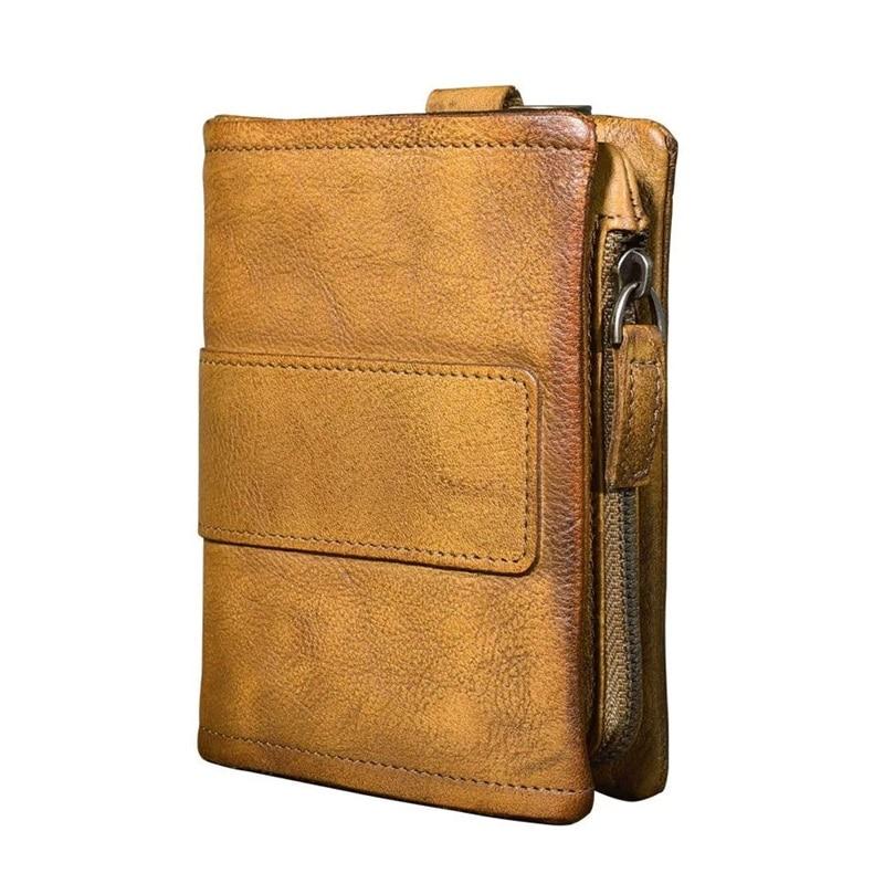 Vintage Hand Painting Designer Genuine Soft Cow Leather Men s Short Wallet Male Card Purse Zipper