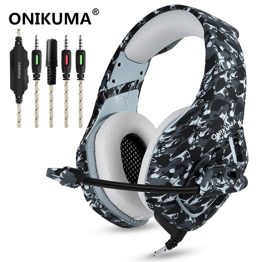 ONIKUMA K1 Camouflage Stereo Gaming Headset Surround Sound Over Ear Headphones with Noise Cancelling Mic for