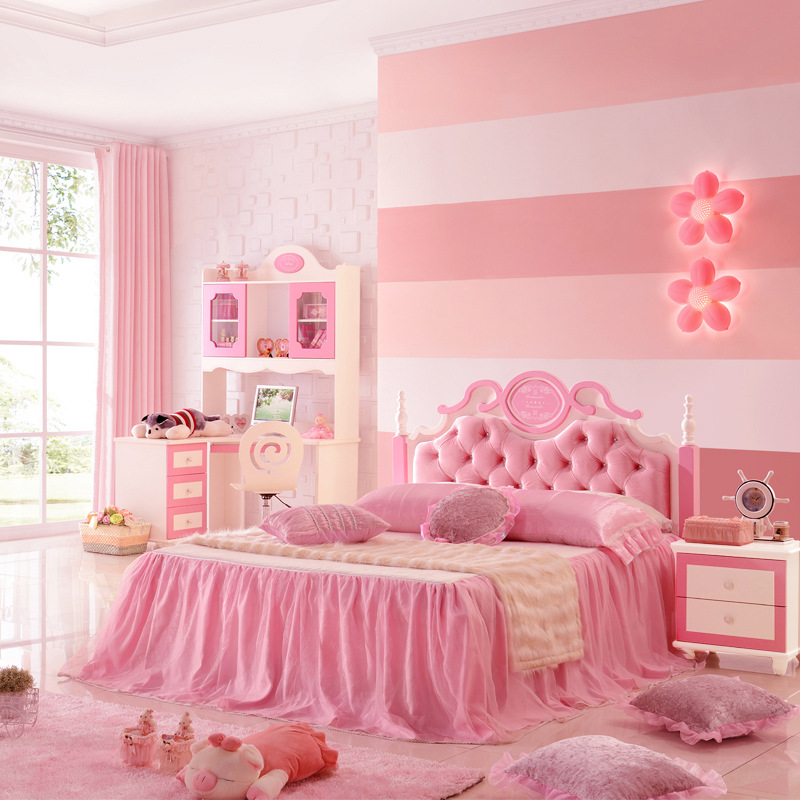 Children's Bed Single Bed European Style Furniture Suite 1.2/1.5 M Girl Princess Bed bed
