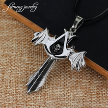 Assassins Creed Necklace Charm jewelry for men fashion Silvery cross skeleton accessories Alloy the arrow cross pendant necklace