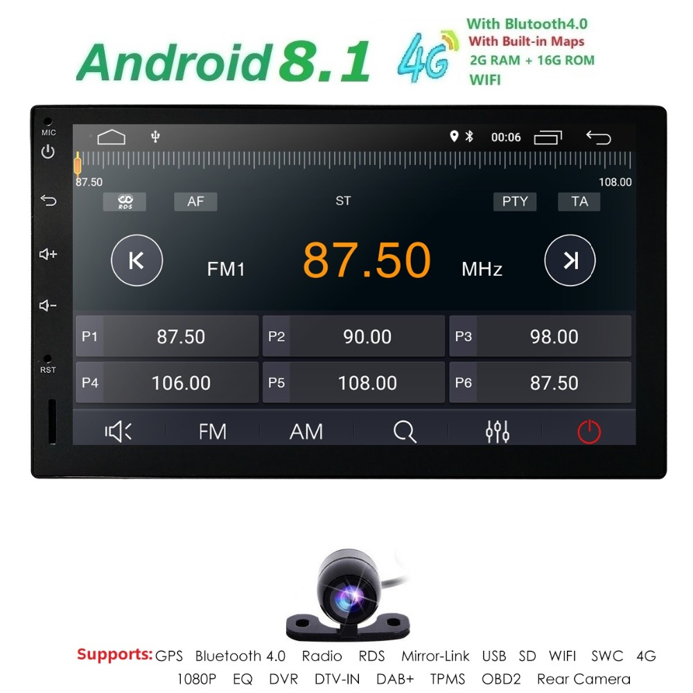 HIZPO 7/'/' Android 8.1 4G WiFi Double 2DIN Car Radio Stereo Player GPS Navi+Cam