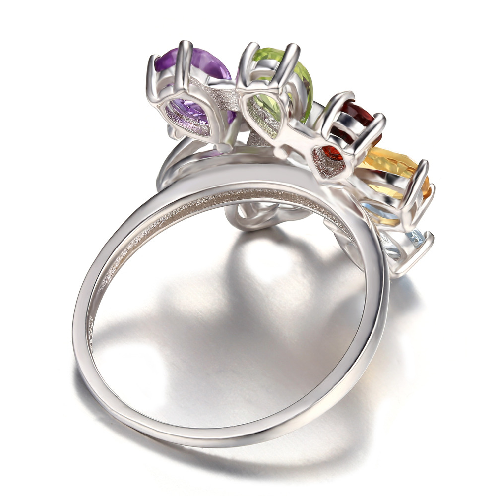 JewelryPalace Butterfly 2.4ct Genuine Amethyst Garnet Peridot Citrine Blue Topaz Cocktail Ring 925 Sterling silver S0fSr