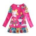 Размер 2 т - 8 т бен и холли девочка платье дети детей девочек платья с длинным рукавом хлопок нова марка