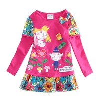 Top Quality Girls Cute Dresses Kids Children Girls Dresses With Long Sleeve Cotton Ben And Holly