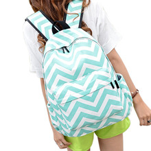 Women Double-Shoulder Sweet Stripe Canvas Backpack School bag Lightweight Easy To Carry Travel Shoulder Bag