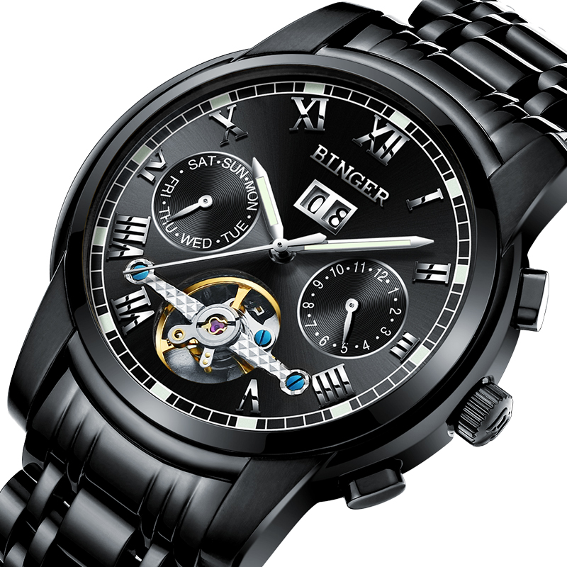 2017 Mechanical Watch Men Wrist Sapphire Binger Luxury Brand Waterproof Watches Male Wrist Sapphire Clock B8601