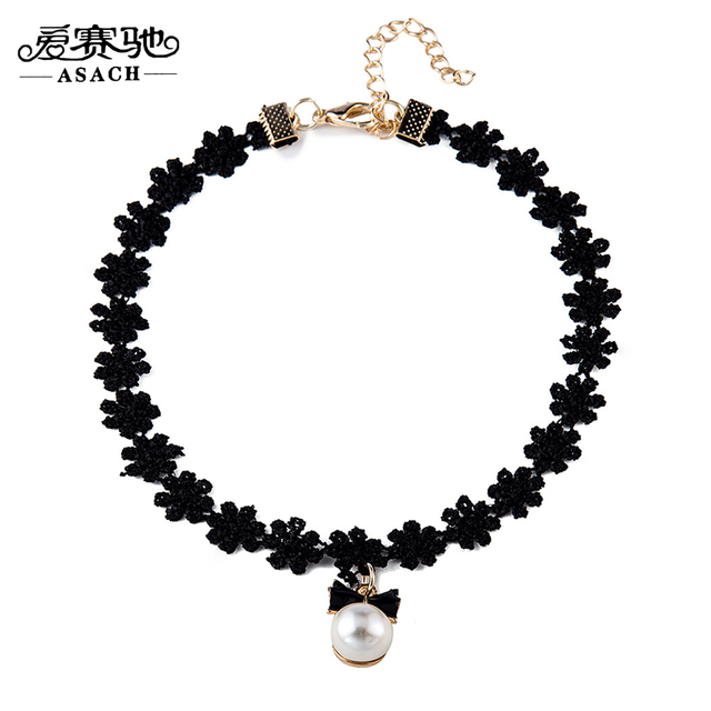 5e073a3f8b04e US $4.54  ASACH Romantic Simulated Pearl Lace Chain Choker Necklace Bow  knot Necklaces Chokers Trendy Jewelry Collares For Women Collier -in Choker  ...