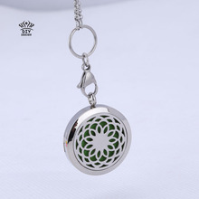 1pcs mesinya Round flower (30mm) Aromatherapy / Essential Oils Stainless Steel Perfume Diffuser magnet Locket Necklace