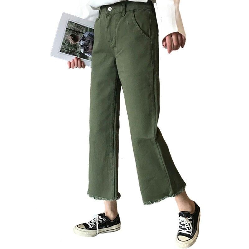 Femmes pantalons armée vert Denim Cargo Fray garniture Harajuku Jeans Calca lâche Ropa De Mujer importé chine jambe large Ulzzang pantalon