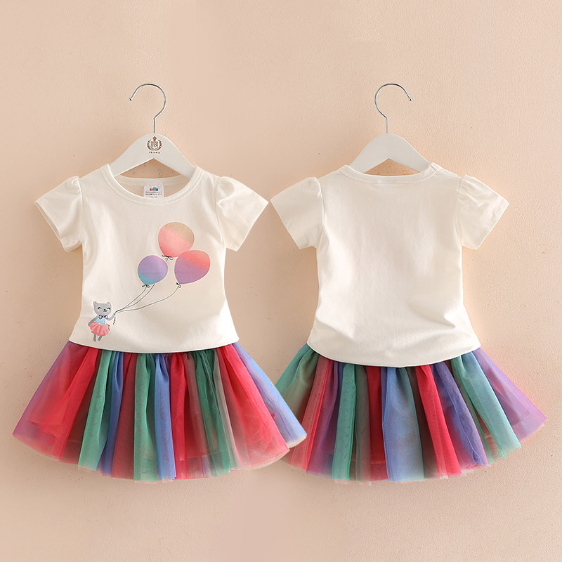 Girls Clothes Set Short Sleeve Baby Summer Top T-shirts+Rainbow Skirts Kids Outfits Clothing Children Outfits New 2018 T1/3528BO new 2015 summer children t shirts baby clothes child 100