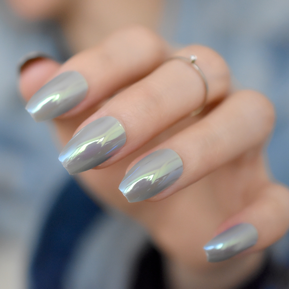 Famous Gray Coffin Nails Gallery - Nail Art Design Ideas ...
