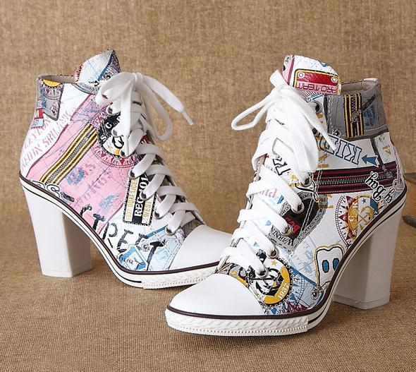 ФОТО The new winter fashion printed cowhide casual strap high heels pumps platform shoes sexy ladies shoes size 34-43