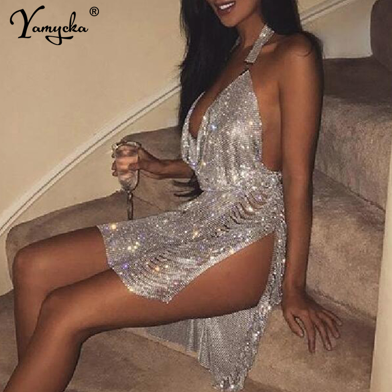 Sexy Bling Metal Body Chain Rhinestone Summer Dress Women Luxury Party Glitter Night Club Backless Diamond Mini Dresses Vestidos