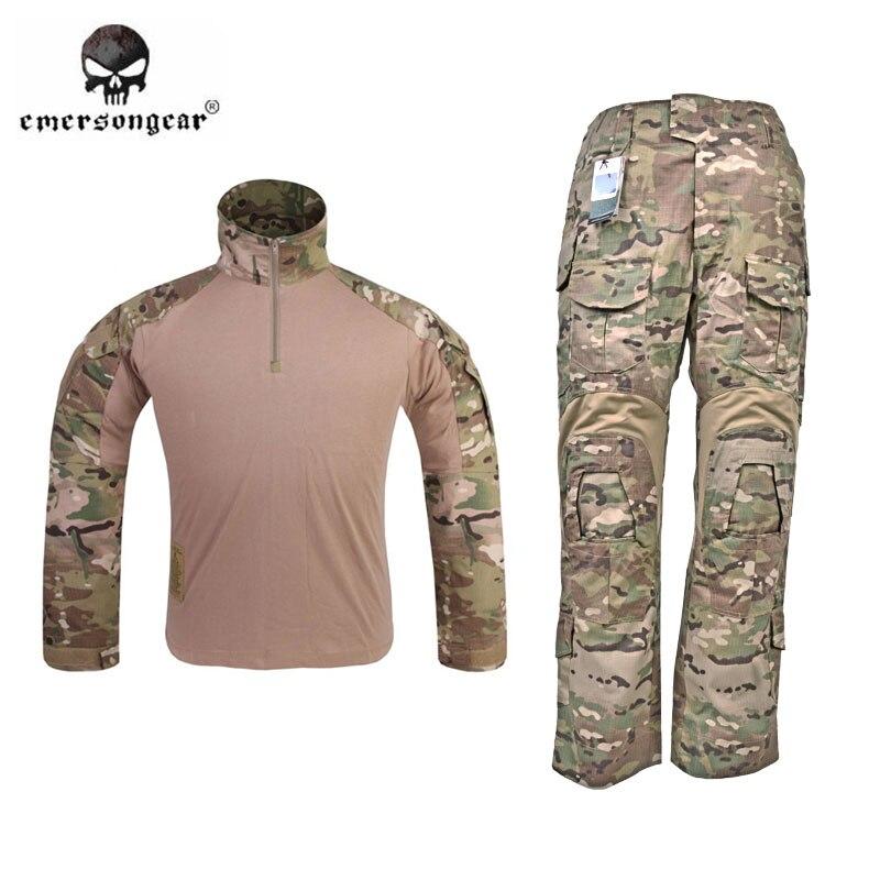 Emerson G3 боевая рубашка и Брюки для девочек Мотобрюки w/наколенники комплект emersongear Тактический Военная Униформа Охота Gen3 Камуфляж BDU форма MC