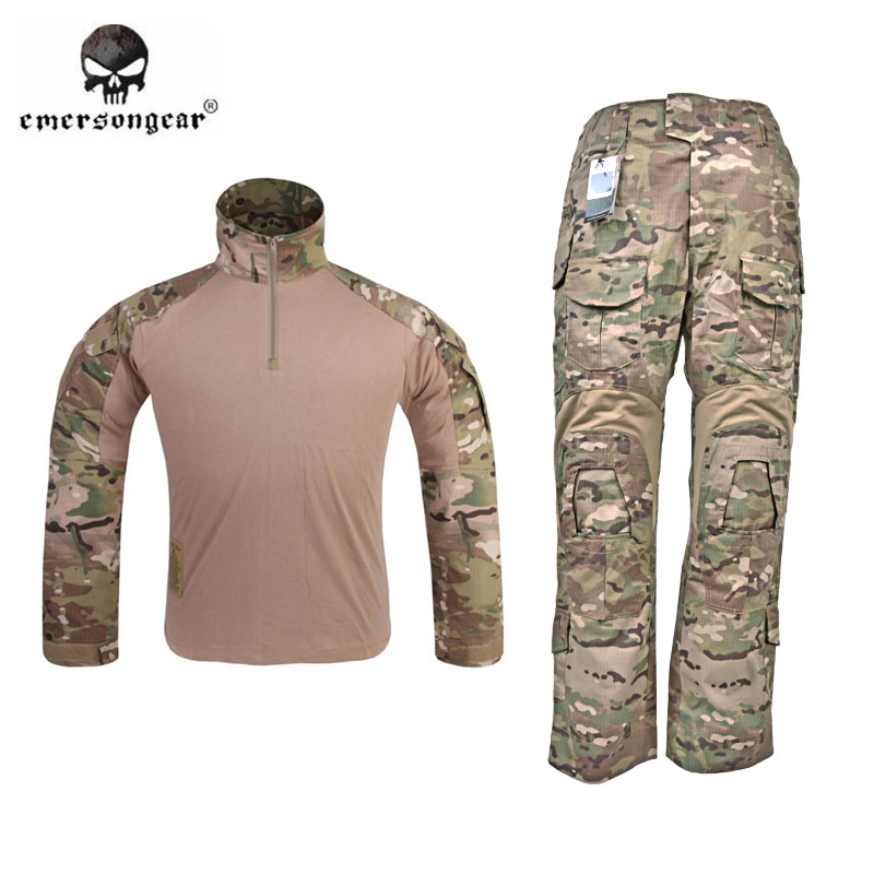 Emerson G3 Combat Shirt & Pants Trousers w/ Knee Pads Set EmersonGear Tactical Military Hunting GEN3 Camouflage BDU Uniform MC emerson navy seals combat set bdu uniform aor1 mc at marpat woodland em6914
