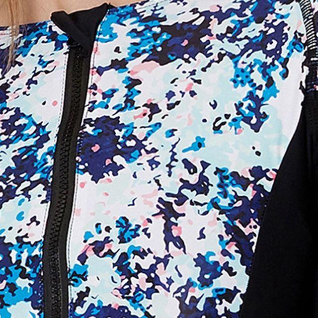 Two-piece suit Women Rashguard Long Sleeve/Sleeveless Zip UV Protection Print Surfing Swimsuit bra pad Swimwear Bathing Suits H6