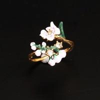 France Les Nereides Enamel Glaze Copple Pleated Romantic Cherry Blossoms Flower Women Adjustable Ring