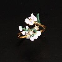Frankrijk Les Nereides Emaille Glazuur Koperen Romantische Kersenbloesems Bloem Vrouwen Verstelbare Ring