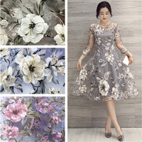 1*1.4M Upscale Net Yarn 3D Flowers Embroidery Chiffon Lace Fabric,African/French Lace Trim Fabric For DIY Wedding Decoration
