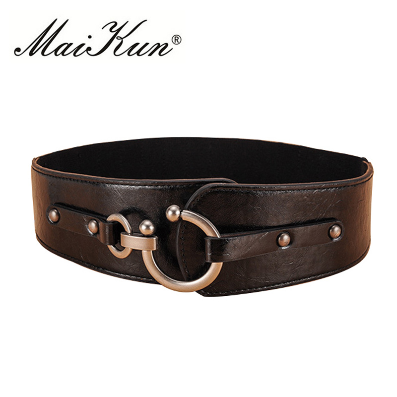 Maikun Wide Belts For Women Vintage Elastic Womens Belt Metal Hook Buckle