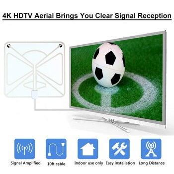 TV Digital Antena Digital HDTV antenas antena interior 120 millas con amplificador de señal Booster TV radio antena VHF UHF antena