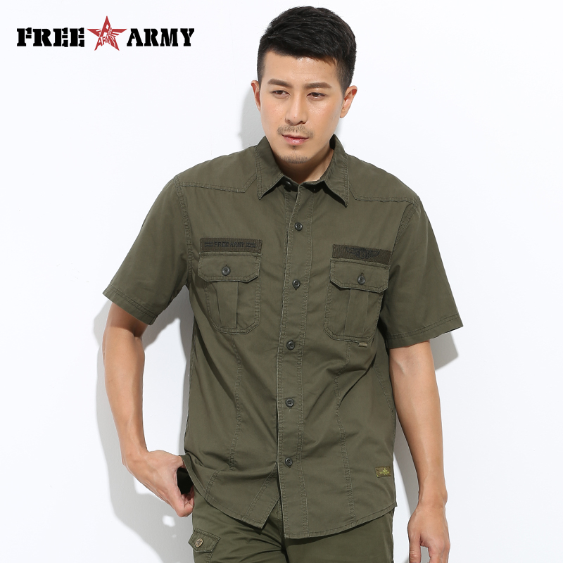 Mens Shirt Mens Cargo Shirt Buttons Pockets Casual Shirt Summer Style 100% Cotton Solid Fashion Mens Casual Shirt MS-609