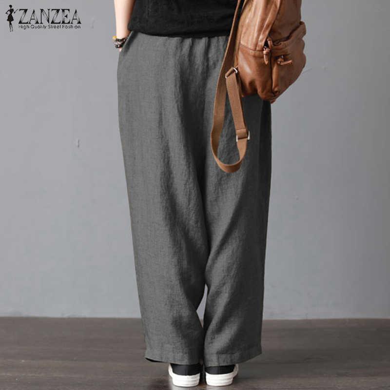 cb501504b84 ... Women Summer Elastic Waist Harem Pants 2019 ZANZEA Female Autumn Causal Wide  Leg Trouser Vintage Cotton ...