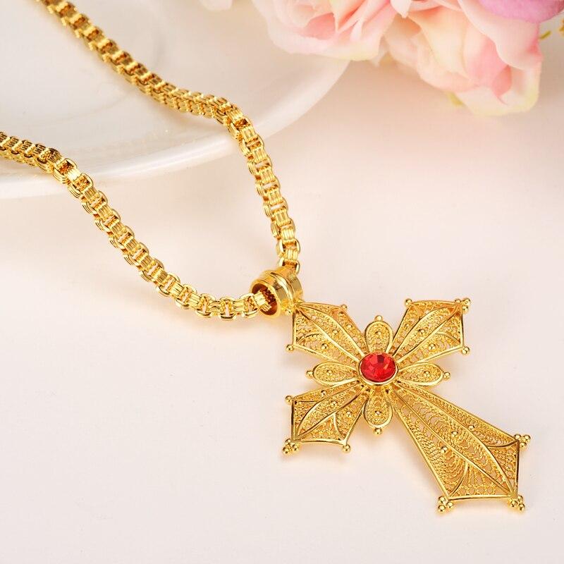 7b95ce174aa63 US $8.41 15% OFF|Bangrui Ethiopian Big Cross Pendant Necklaces for  Women/Men, Gold Color Africa Ethiopia Crosses Jewelry Eritrea Items-in  Pendants ...