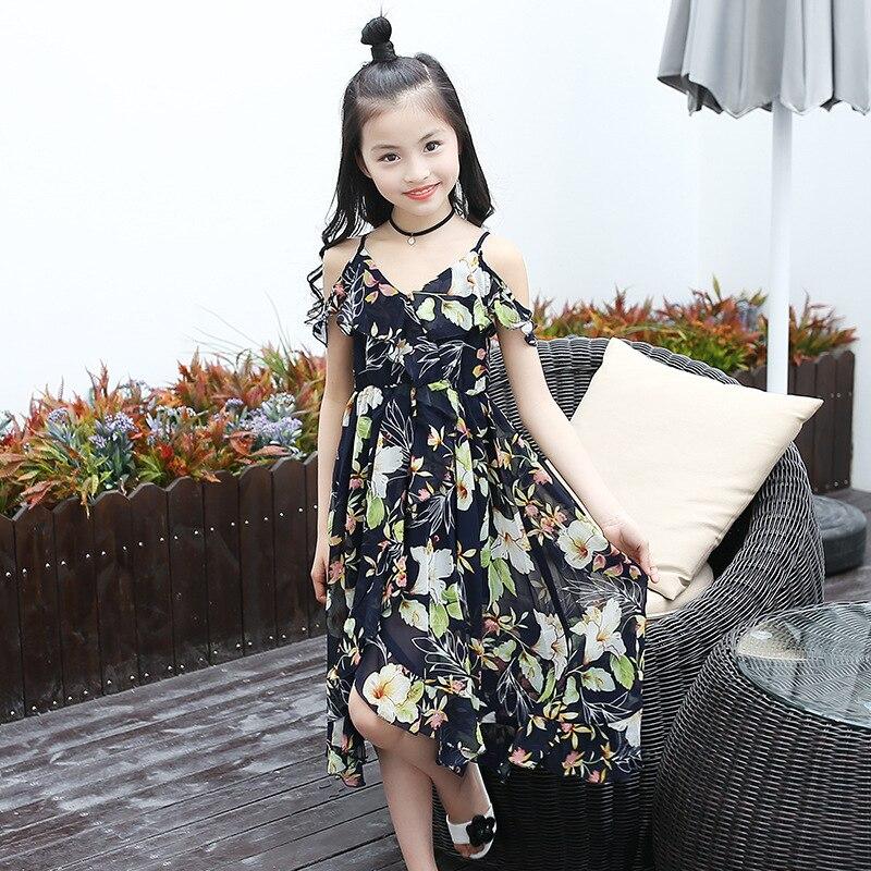 2017 Summer Girls Dress Knee-Length Flower Sling Chiffon Cotton Dress Three Colors Princess Dress стул coleman summer sling 205147